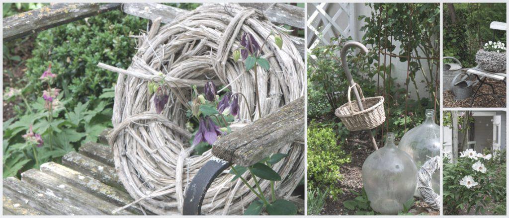 Gartendeko im Garten im Frühling