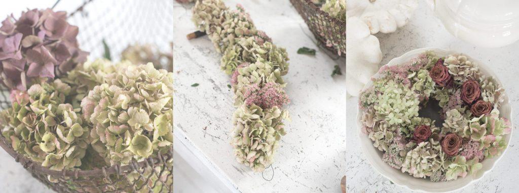 Getrockneter Hortensienkranz im Herbst